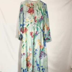 Vintage Watercolor Floral Maxi Dress Button Front